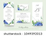 wedding floral personal menu ... | Shutterstock .eps vector #1049392013