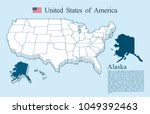 usa map vector  alaska | Shutterstock .eps vector #1049392463