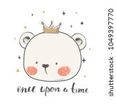 cute bear with crown.cartoon... | Shutterstock .eps vector #1049397770