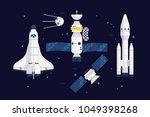 quality flat vector spacecraft... | Shutterstock .eps vector #1049398268