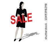 beautiful black women hold sale ... | Shutterstock .eps vector #1049398298