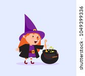 halloween witch cooks a magic... | Shutterstock .eps vector #1049399336