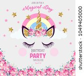 birthday party invitation with... | Shutterstock . vector #1049405000