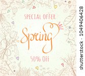 spring sale card can be used... | Shutterstock .eps vector #1049406428