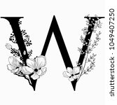 vector hand drawn floral w... | Shutterstock .eps vector #1049407250