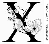 vector hand drawn floral x... | Shutterstock .eps vector #1049407253