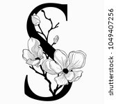 vector hand drawn floral s... | Shutterstock .eps vector #1049407256