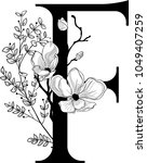 vector hand drawn floral f... | Shutterstock .eps vector #1049407259