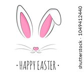 happy easter greeting card with ... | Shutterstock .eps vector #1049412440