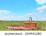 picnic setting on meadow with... | Shutterstock . vector #104941280