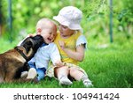 girl and her little brother...   Shutterstock . vector #104941424