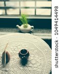 vintage style cafe table in low ... | Shutterstock . vector #1049414498