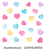 colorful candy hearts pattern.... | Shutterstock .eps vector #1049418950