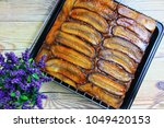 banana upside down cake | Shutterstock . vector #1049420153