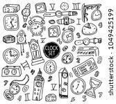 Hand Drawn Set Of Clocks And...