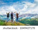 people on  hiking trip. happy... | Shutterstock . vector #1049427170