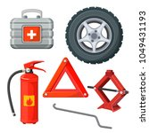 emergency first aid kit in car  ... | Shutterstock .eps vector #1049431193