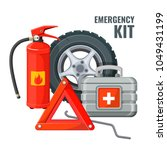 emergency first aid kit and... | Shutterstock .eps vector #1049431199