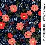 trendy seamless floral pattern. ... | Shutterstock .eps vector #1049435180