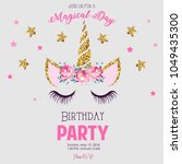 birthday party invitation with... | Shutterstock . vector #1049435300