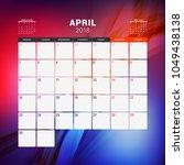 april 2018. calendar planner... | Shutterstock .eps vector #1049438138