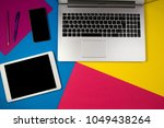 laptop computer  tablet and... | Shutterstock . vector #1049438264