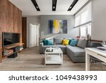 tv living room with wooden wall ... | Shutterstock . vector #1049438993