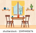 dining table in kitchen with... | Shutterstock .eps vector #1049440676