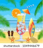 huge glass with exotic cocktail ... | Shutterstock .eps vector #1049446679