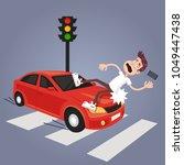 driver hit careless man...   Shutterstock .eps vector #1049447438