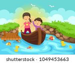 kids rowing boat in the river... | Shutterstock .eps vector #1049453663