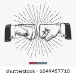 hand drawn hand gesture. fist...   Shutterstock .eps vector #1049457710