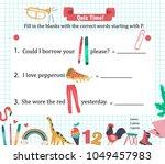 doodle a z alphabet exercise... | Shutterstock .eps vector #1049457983