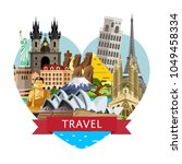 worldwide travel banner with... | Shutterstock .eps vector #1049458334