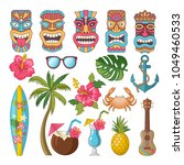 tribal symbols of hawaiian and... | Shutterstock .eps vector #1049460533