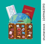 travel suitcase with stickers... | Shutterstock .eps vector #1049463593