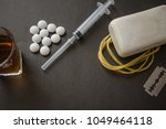 soap with a rope  razor blade ... | Shutterstock . vector #1049464118