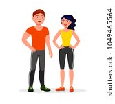 fitness couple isolated on... | Shutterstock .eps vector #1049465564