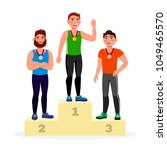 winners with golden  silver and ... | Shutterstock .eps vector #1049465570