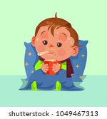 unhappy sad ill sickness little ... | Shutterstock .eps vector #1049467313