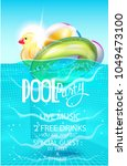 pool party poster with...   Shutterstock .eps vector #1049473100