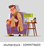 sad unhappy felling bad sick... | Shutterstock .eps vector #1049474603