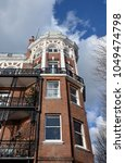 Small photo of LONDON - MARCH 7, 2018. Digby Mansions is a splendid early 20th century English Edwardian period apartment building with views over the River Thames and Hammersmith Bridge in west London.
