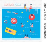 summer pool with people and... | Shutterstock .eps vector #1049474900