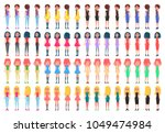 animated young girl in casual... | Shutterstock .eps vector #1049474984