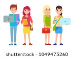 students boy and girls in... | Shutterstock .eps vector #1049475260
