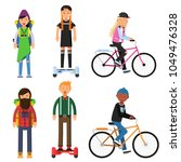 hipsters make a trip. bicycles... | Shutterstock .eps vector #1049476328