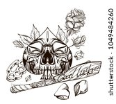 skull contour sketch for tattoo ... | Shutterstock .eps vector #1049484260