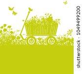 handcart in overgrown garden | Shutterstock .eps vector #1049499200