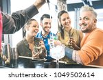 group of friends drinking... | Shutterstock . vector #1049502614